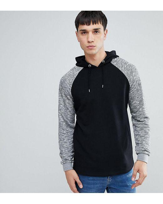 ASOS - Asos Tall Hoodie With Contrast Raglan Sleeve In Black for Men - Lyst