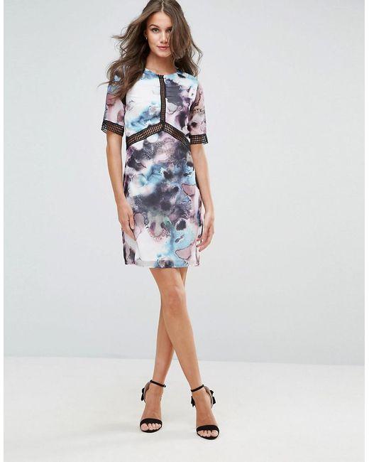 Sale Outlet Store Oil Print Shift Dress With Lace Trim - Black Little Mistress Discount Outlet Store Cheap Sale Cheapest RotKJz