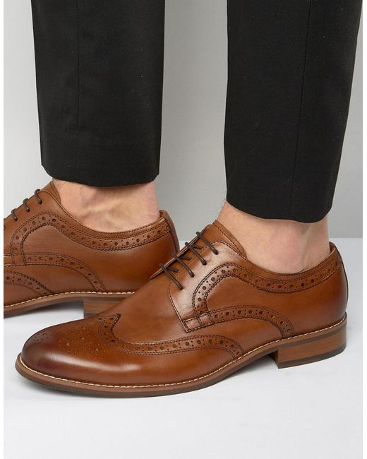 Dune | Brown Radcliffe Leather Derby Brogue Shoes for Men | Lyst