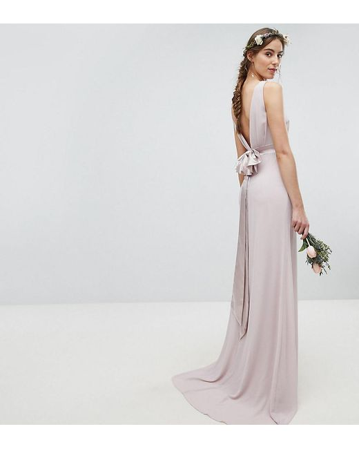 TFNC London - Brown Wedding Sateen Bow Back Maxi Dress - Lyst