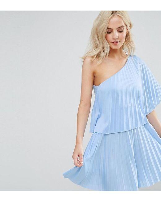 ASOS | Blue One Shoulder Pleat Mini Dress | Lyst