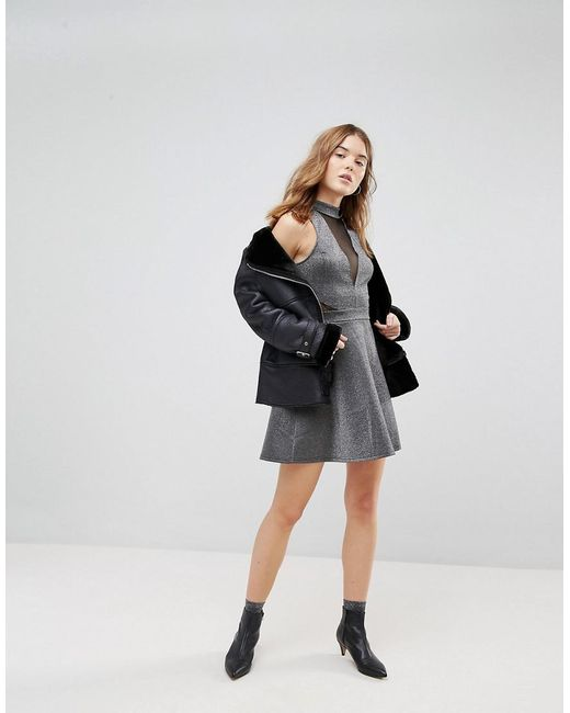 Mesh Insert Metallic Skater Dress - Silver New Look Deals Sale Online OUBHyl5NS