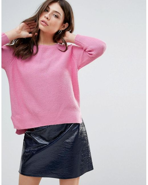 French Connection | Pink Candy Alpaca Wool Mix Knit Raglan Jumper | Lyst