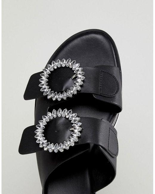 Flatform Two Part Slip on Shoe with Embellished Buckle Detail - Black Aldo y0uc8