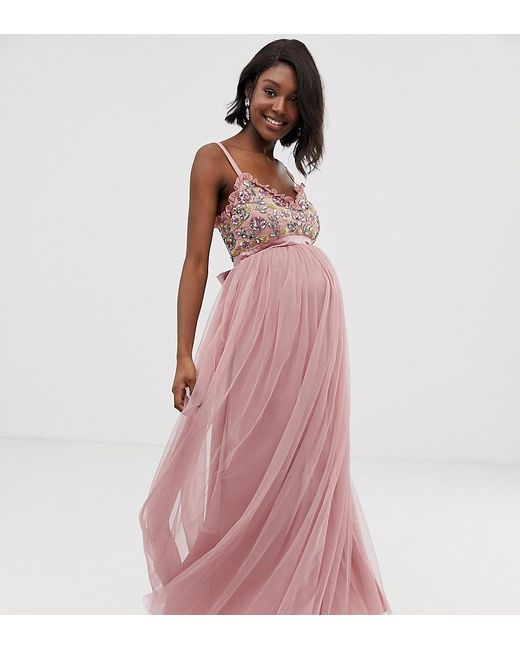 8ae54ca6665f6 Maya Maternity - Pink Cami Strap Contrast Embellished Top Tulle Detail Maxi  Dress - Lyst ...