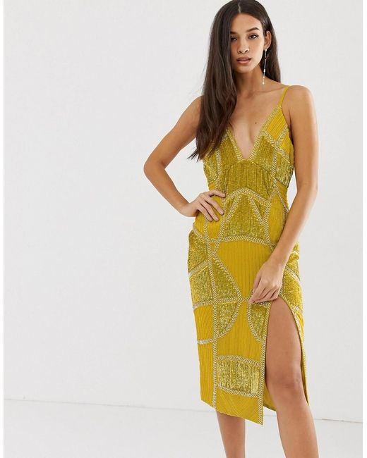 85e886b4896 ASOS - Yellow Sexy Pencil Midi Dress With Embellished Panels - Lyst ...