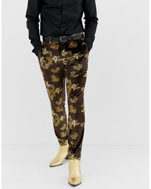 Lyst Asos Skinny Suit Trouser In Velvet With Floral In Black For Men