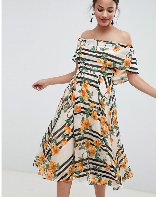 b0482aba781 ASOS - Multicolor Soft Bandeau Midi Dress In Stripe And Floral Print - Lyst  ...