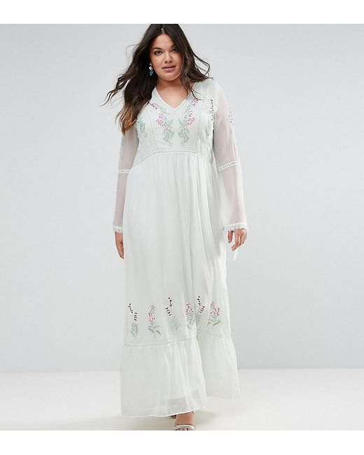 Frock and Frill - Green Embroidered Prairie Maxi Dress With Tie Detail - Lyst