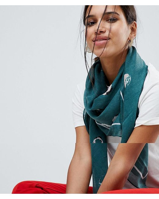 Pieces   Green Lightweight Square Scarf   Lyst