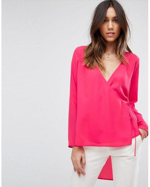 ASOS | Pink Clean Wrap Dip Back Top | Lyst