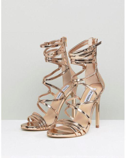 672e3998b9730 ... Steve Madden - Metallic Flaunt Heeled Sandals - Lyst