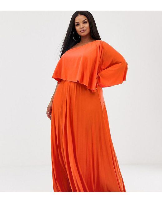 381ba44f633 ASOS - Orange Asos Design Curve One Shoulder Pleated Crop Top Maxi Dress -  Lyst ...