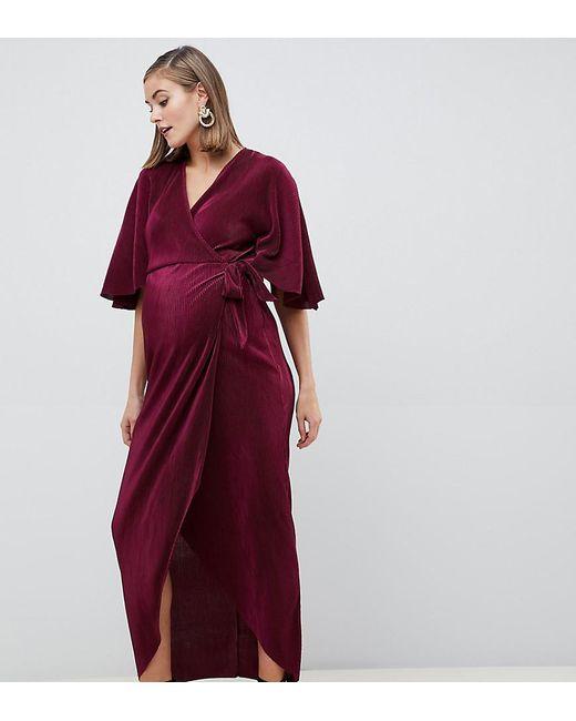 b724cafd78 ASOS - Red Asos Design Maternity Plisse Wrap Maxi Dress - Lyst ...