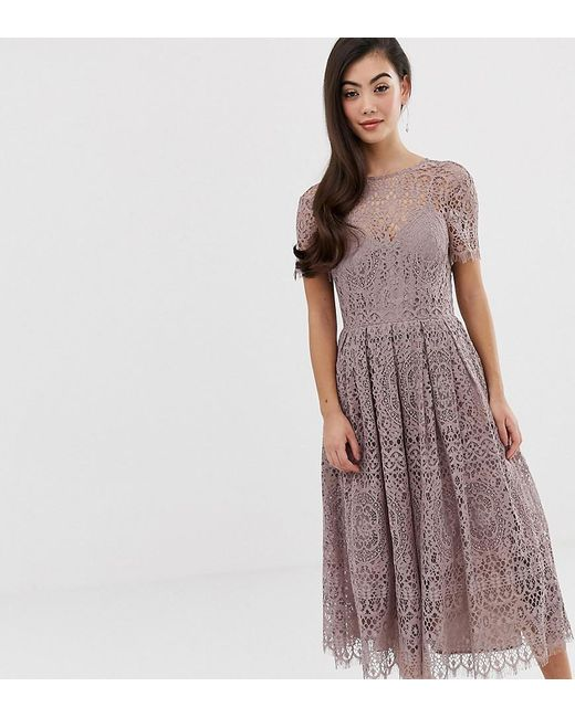 4450119237b2 ASOS - Natural Asos Design Petite Lace Midi Dress With Ribbon Tie And Open  Back ...