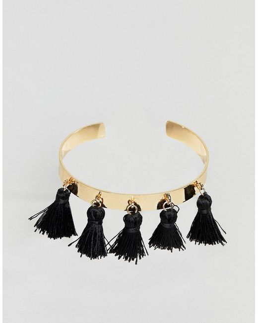 ASOS - Metallic Tassel Cuff Bracelet - Lyst