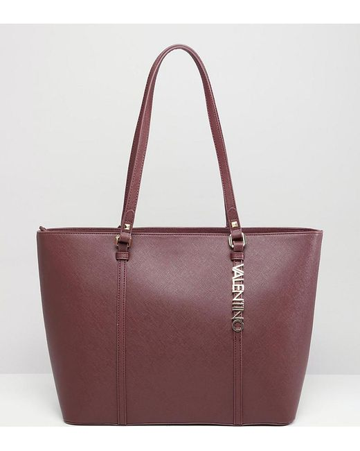 22998170efed Valentino By Mario Valentino - Red Crosshatch Burgundy Tote Bag - Lyst ...