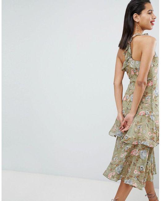 3f19aae071e7 Neck Midi Lyst Dress Ruffle Floral Halter Multicolor Soft Vila qY4Xn