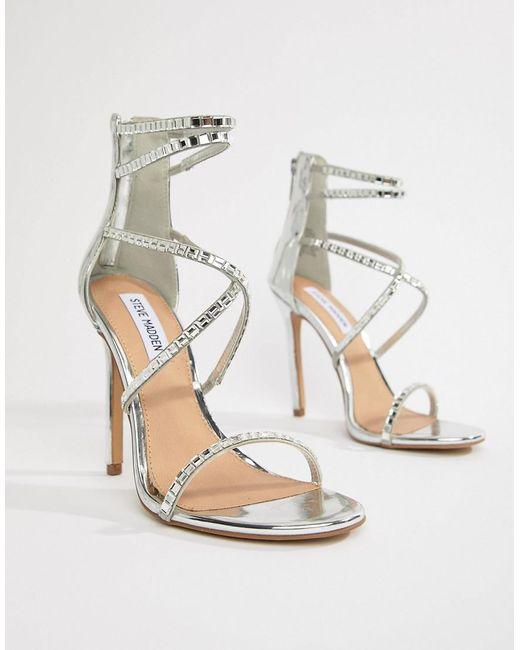 58c25c97f0f Steve Madden - Metallic Bringit Strappy Heeled Sandals - Lyst ...