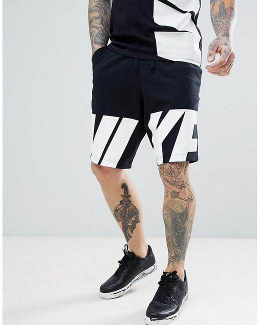 Nike - Hybrid Shorts With Large Logo In Black 885951-010 for Men - Lyst ... 100d05f0e