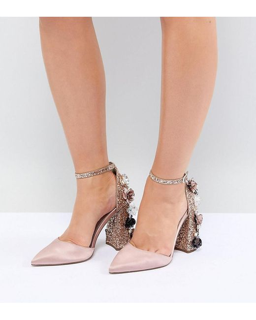 26a3994f4f1e ASOS - Natural Passionate Wide Fit Embellished High Heels - Lyst ...