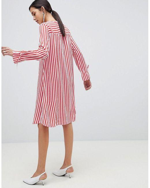 ... Y.A.S - Red Trey Striped Dress - Lyst 7822a4492