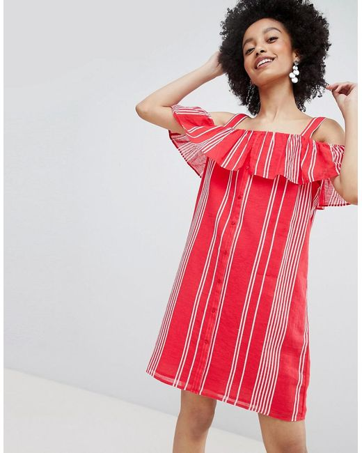 ONLY - Stripe Cold Shoulder Button Through Mini Dress In Red - Lyst