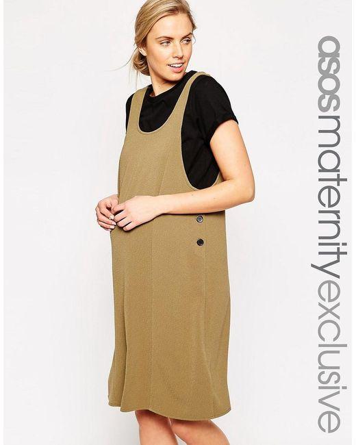 ASOS | Brown Maternity Pinafore Midi Dress In Texture | Lyst