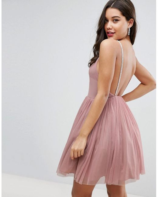 Lyst - Asos Embellished Strap Mini Tulle Dress in Pink