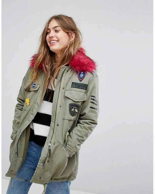 Bershka - Green Badge And Patch Detail Parka - Lyst