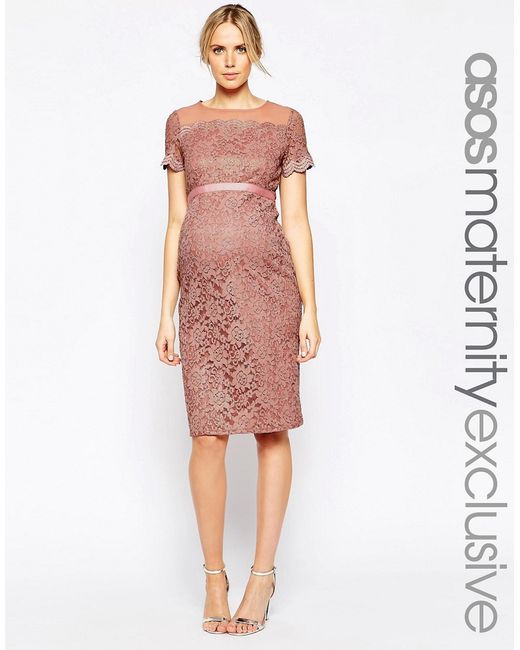 ASOS | Pink Bodycon Dress In Lace With Chiffon | Lyst