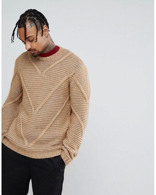 ASOS - Brown Knitted Midweight Textured Jumper With Cable Panels for Men - Lyst