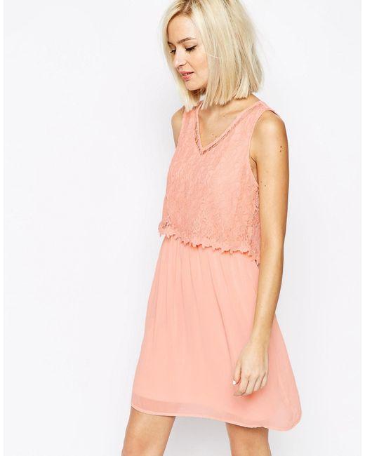 Vero Moda | Black Lace Detail Dress | Lyst