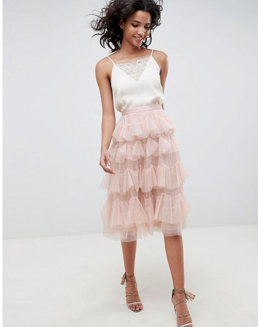 5db18c068f Needle & Thread Tiered Tulle Midi Skirt In Rose in Pink - Lyst