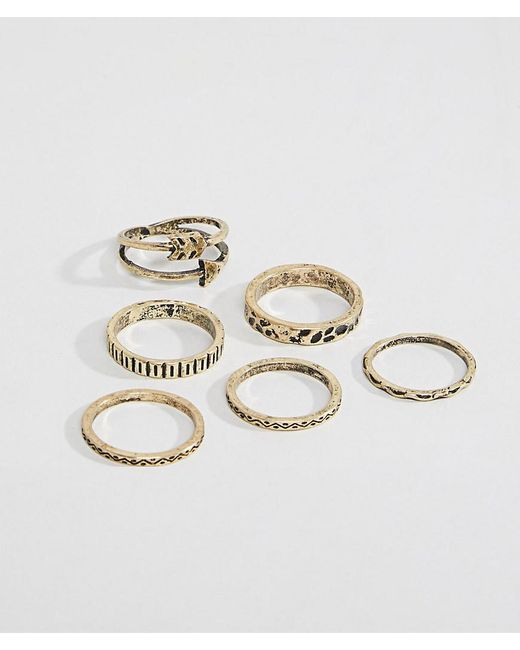 ASOS - Metallic Design Ring Pack In Burnished Gold With Arrow for Men - Lyst