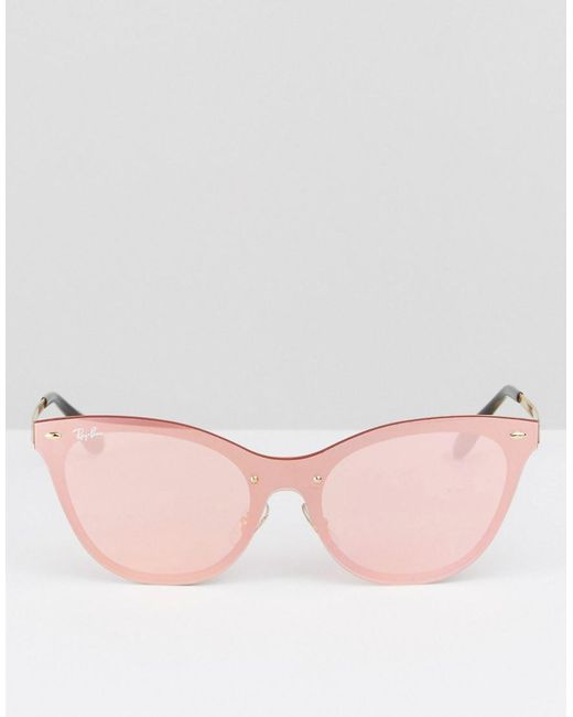 0faa6cfee5d ... norway ray ban ray ban flat lens cateye sunglasses in pink with flash  lens for 60bc8