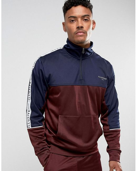Illusive London - Red Overhead Track Jacket In Burgundy With Taping for Men - Lyst