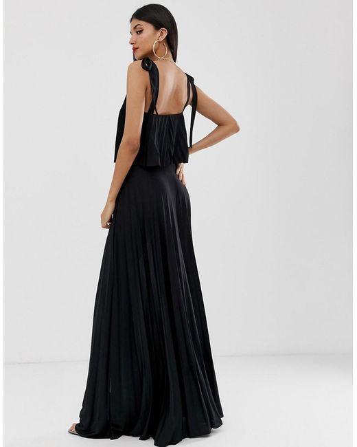16e7dd3da4662c ... ASOS - Black Asos Design Tall Tie Shoulder Pleated Crop Top Maxi Dress  - Lyst