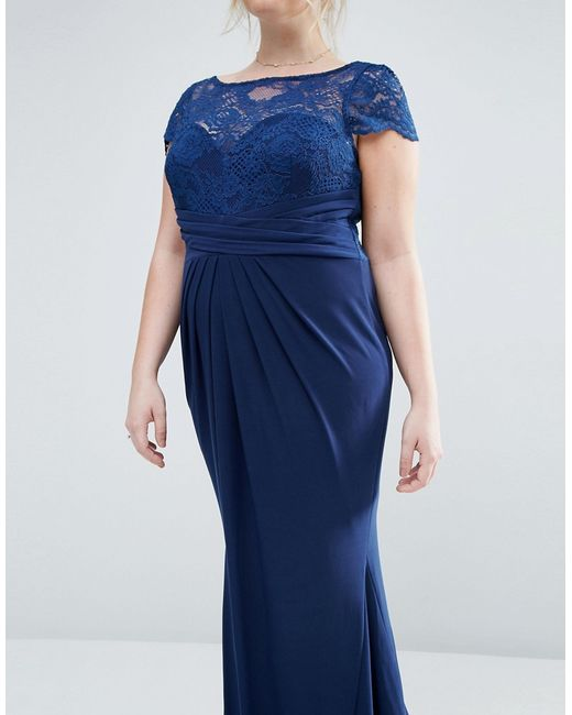 Asos Curve Wedding Pleated Maxi Dress With Lace Top in ...