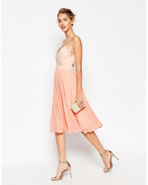 ASOS   Pink Sheer And Solid Pleated Midi Cami Dress   Lyst