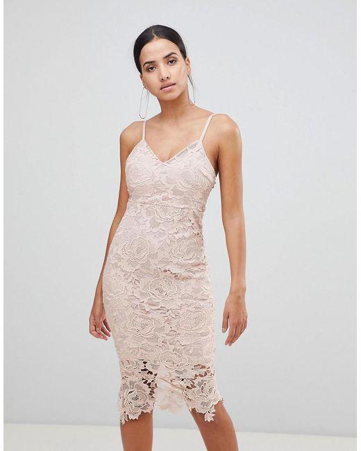 AX Paris Pink Lace Cami Midi Dress