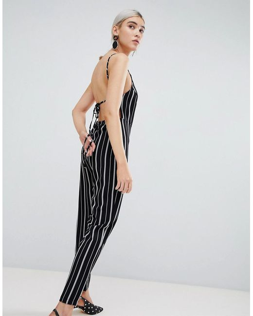 c753bc100b8d Lyst - PrettyLittleThing Stripe Jumpsuit in Black