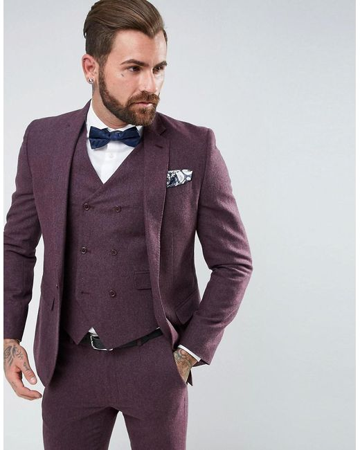 ASOS | Purple Wedding Skinny Suit Jacket In Berry Wool Mix for Men | Lyst