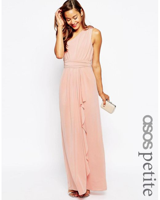 ASOS | Pink Wedding One Shoulder Sexy Slinky Maxi Dress | Lyst