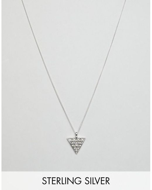 ASOS - Metallic Design Sterling Silver Necklace With Embossed Triangle Pendant for Men - Lyst