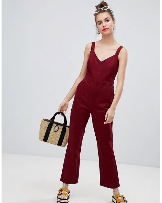 7e256e1b4db ASOS - Red Denim Jumpsuit With Kickflare In Berry - Lyst ...