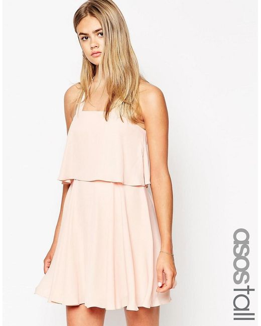 ASOS | Pink Tall Bandeau Crop Top Skater Dress With Wide Straps | Lyst