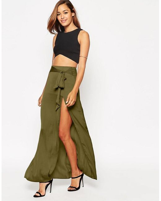 ASOS   Natural Maxi Skirt With Thigh Split And Obi Tie Belt   Lyst