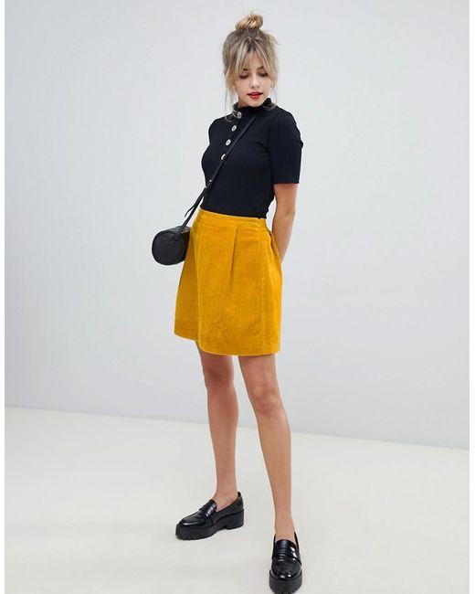 fd71770d28 ASOS - Yellow Tailored Cord Mini Skirt In Mustard - Lyst ...
