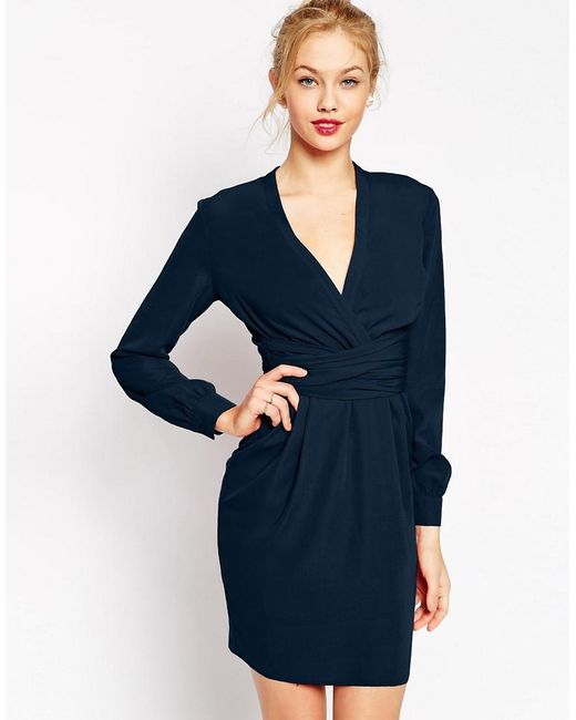 ASOS | Blue Tulip Dress With Wrap Belt | Lyst
